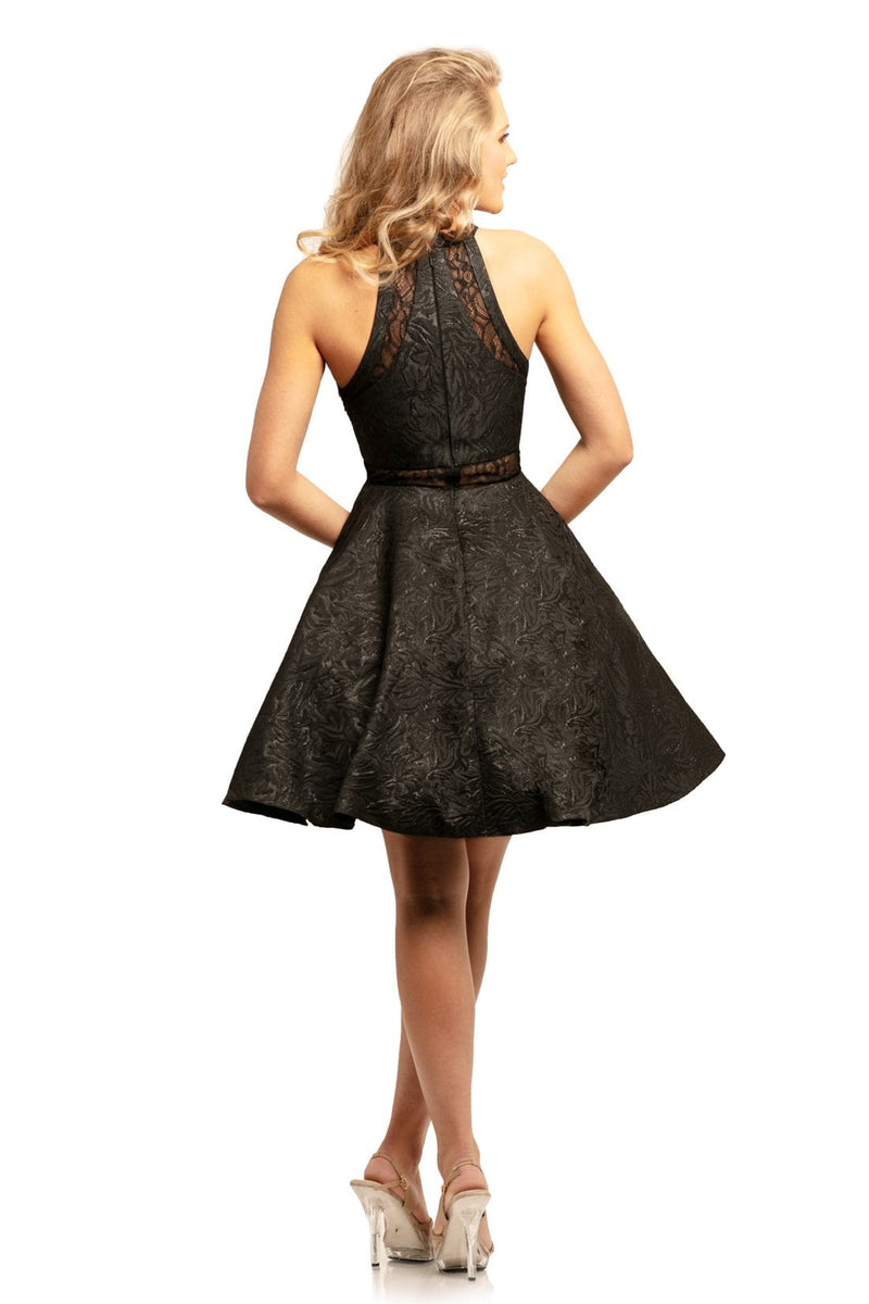 Johnathan Kayne Lace Halter A Line Mini Dress