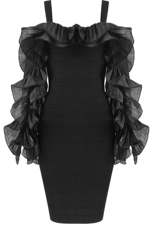 Jessica Bara Vella Off the Shoulder Ruffle Sleeve Dress