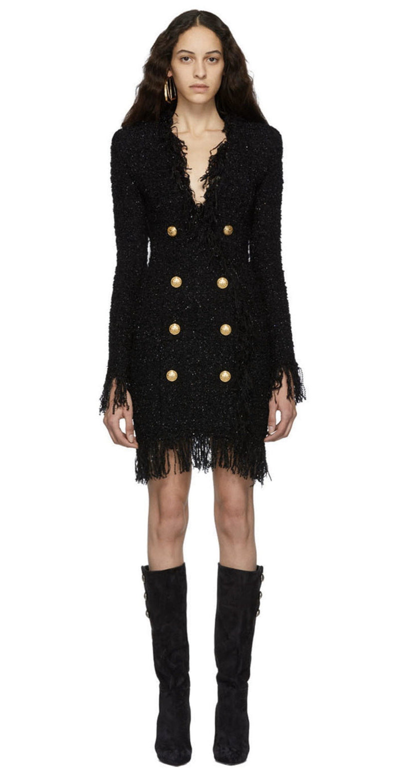 Jessica Bara Maria Tweed Fringe Gold Button Blazer Dress
