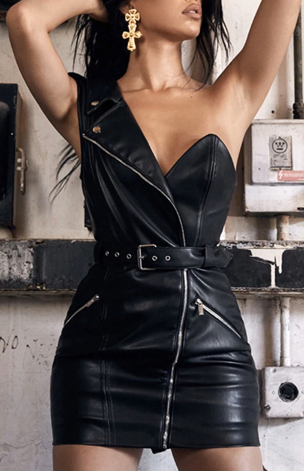 Jessica Bara Adalee One Shoulder Leather Belted Dress