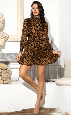 Jessica Bara Cadence Long Sleeve High Neck Leopard Mini Dress