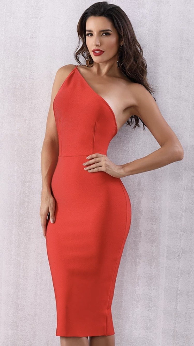 Jessica Bara Austyn One Shoulder Bodycon Midi Dress