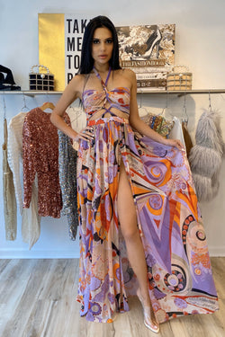Sale Pink Tree Label Erika Halter Pattern Maxi Dress