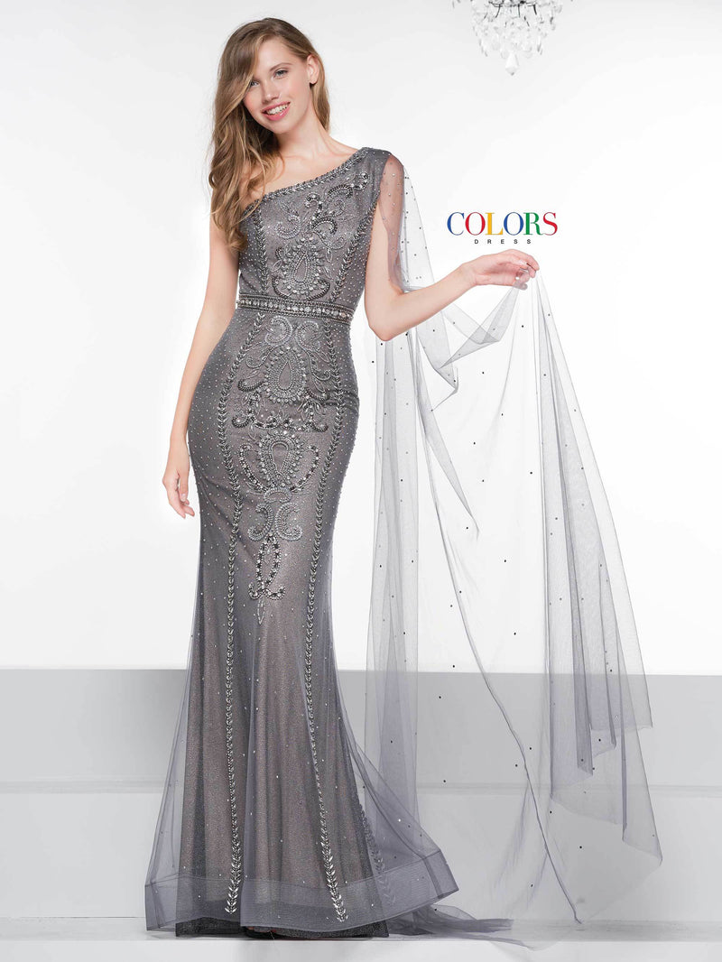 Colors Dress One Shoulder Beaded Gown