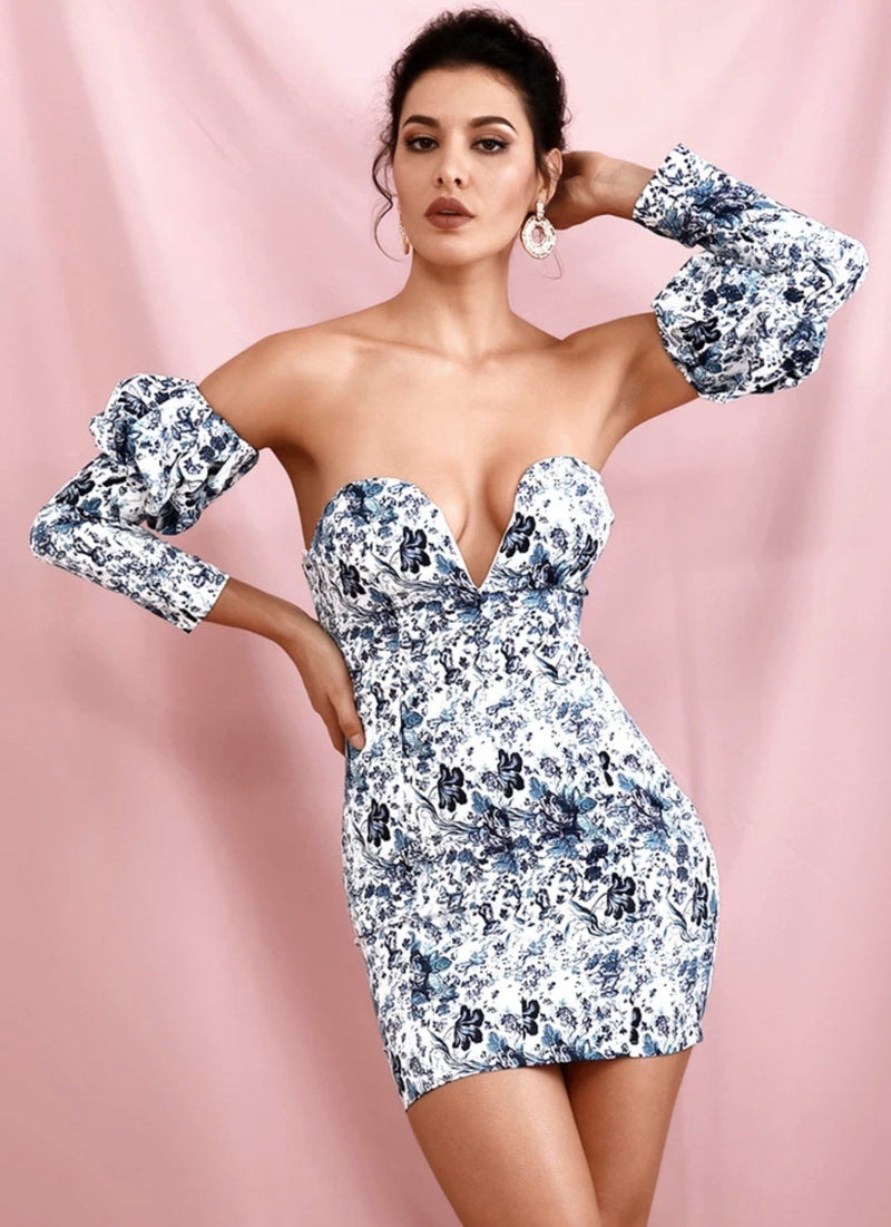 Jessica Bara Bonita Off the Shoulder Floral Mini Dress