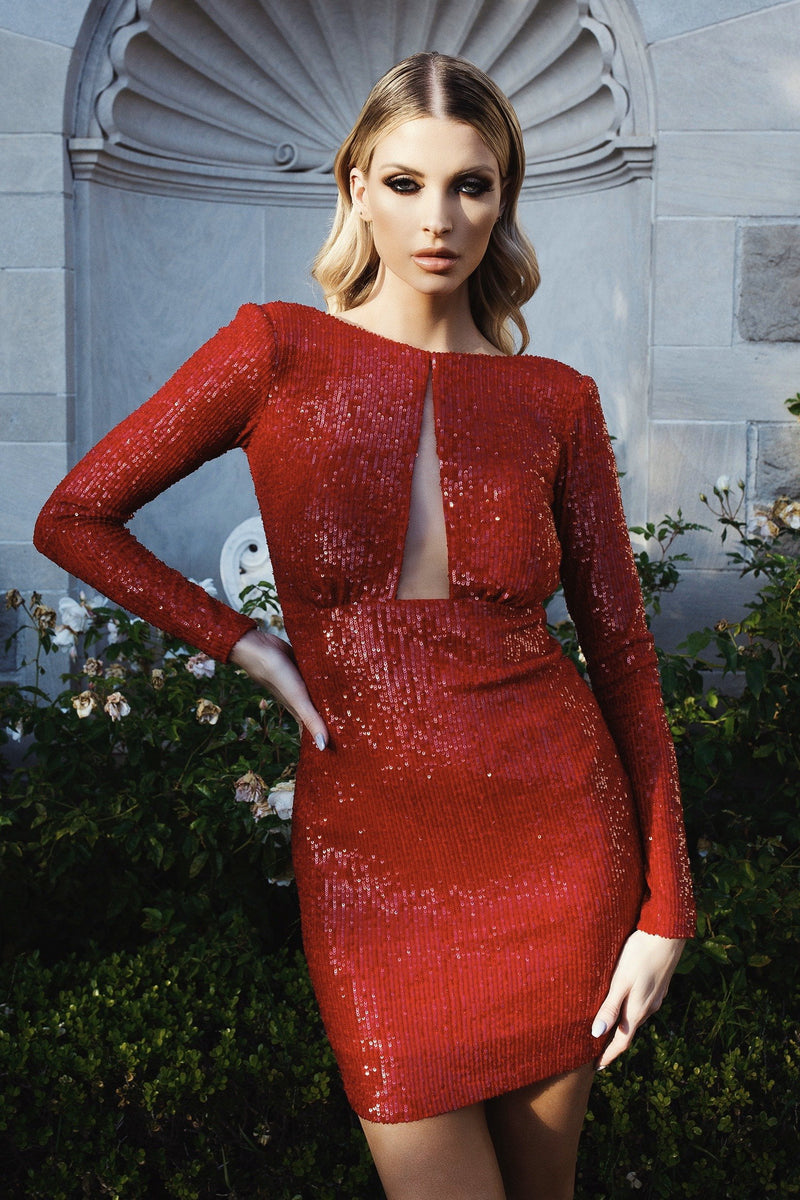Nicole Bakti Long Sleeve Sequin Mini Dress