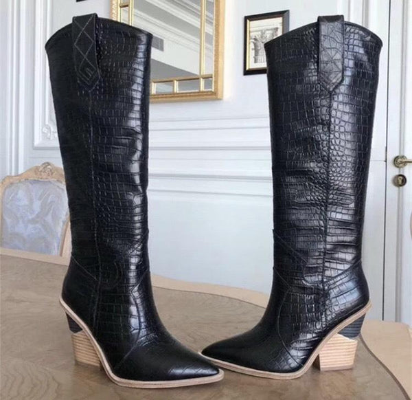 Jessica Bara Emmett Embossed Leather Boots