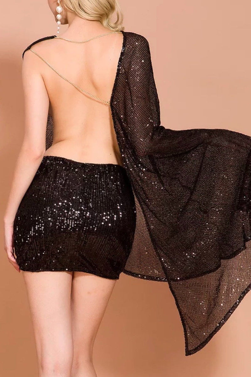 Jessica Bara Kaylee Sequin One Shoulder Open Back Mini Dress