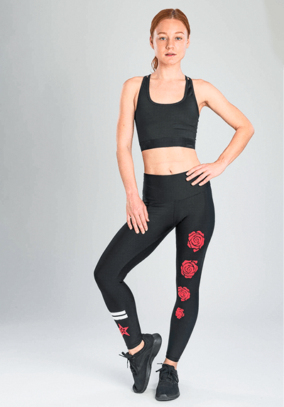 Active Fit Red Roses Leggings