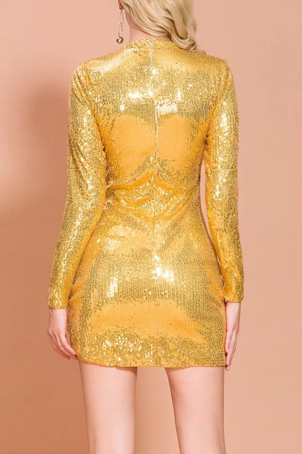 Jessica Bara Samara Long Sleeve Sequin Mini Dress