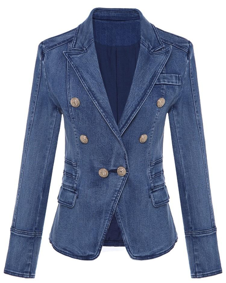 Jessica Bara Donatella Blue Denim Gold Button Blazer