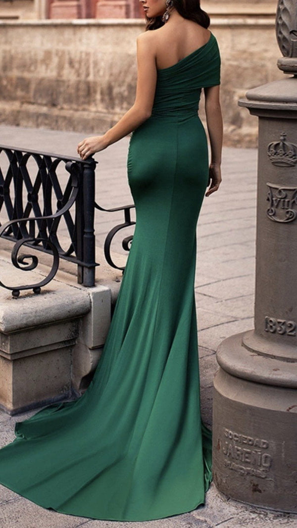 Jessica Bara Sade One Shoulder Slit Gown