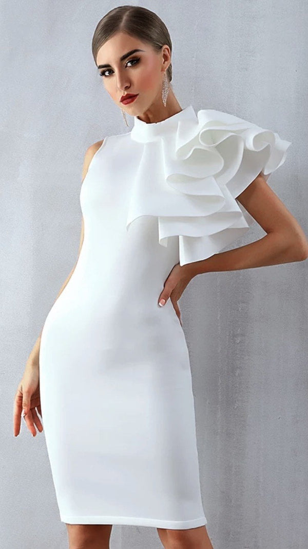 Jessica Bara Annalee One Shoulder Ruffle Bodycon Dress