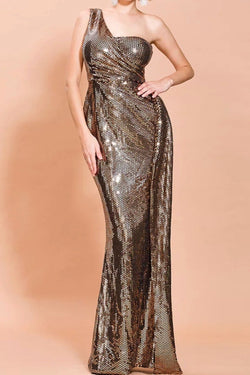 Jessica Bara Holland Sequin One Shoulder Gown