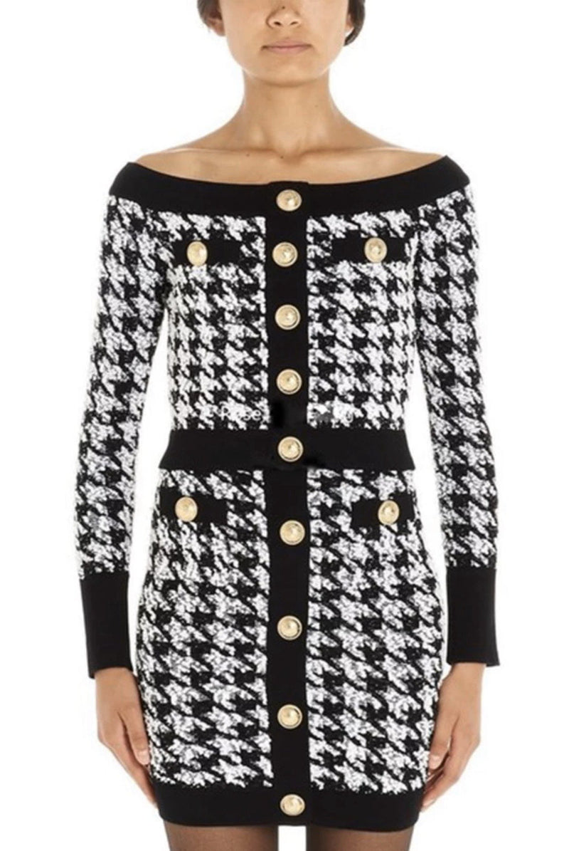 Jessica Bara Harriet Houndstooth Tweed Cropped Jacket