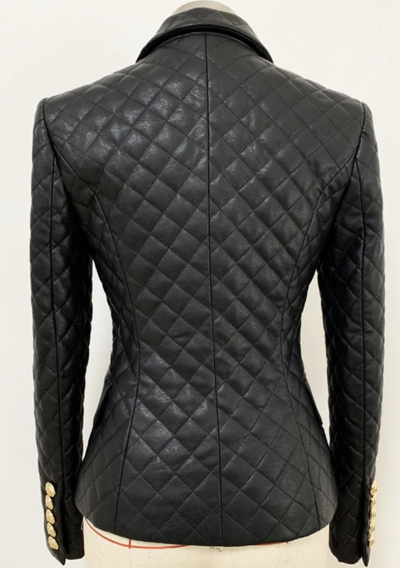 Jessica Bara Lillie Double Breasted Quilted Gold Button Blazer