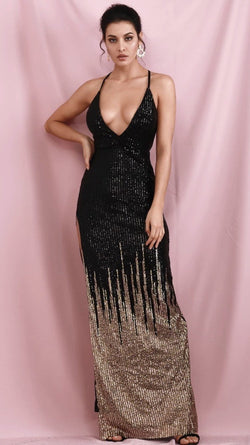 Jessica Bara Perla V Neck Gradient Sequin Open Back Gown