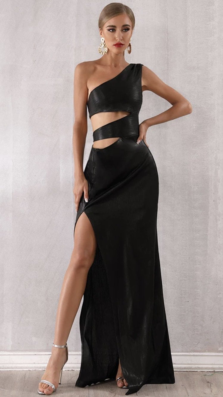 Jessica Bara Estella One Shoulder Cut Out High Slit Maxi Dress