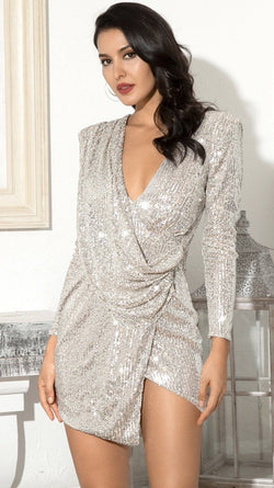 Jessica Bara Hadley Long Sleeve Sequin Draped Mini Dress