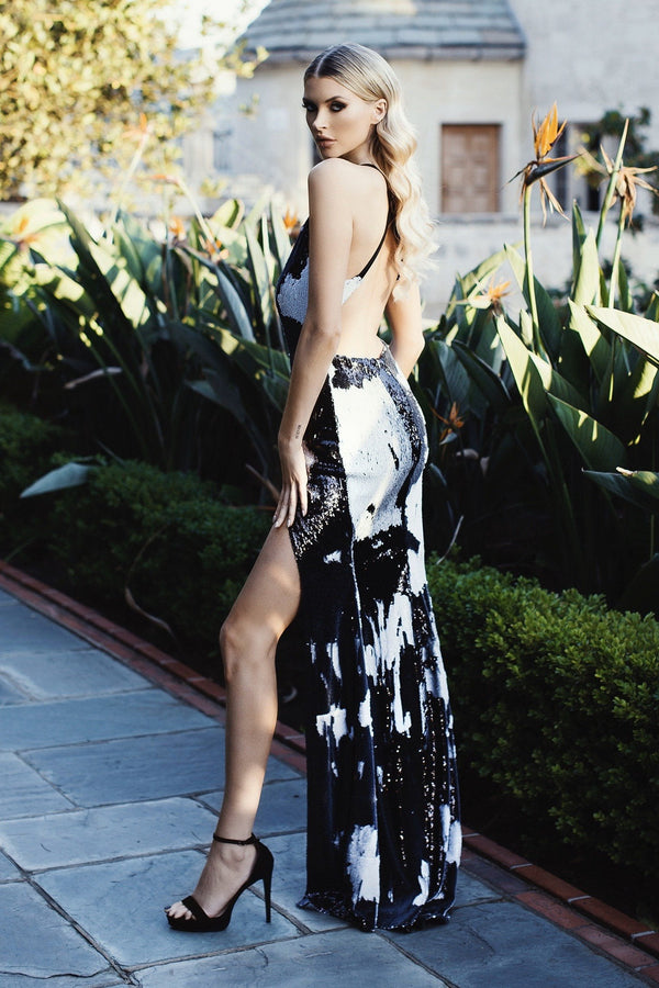 Nicole Bakti Sequin Leg Slit Bodycon Gown