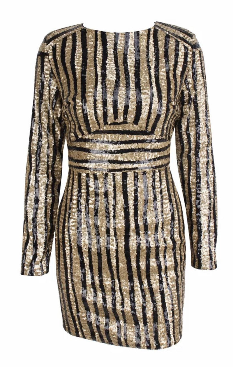 Jessica Bara Lamont Sequin Stripe Mini Dress