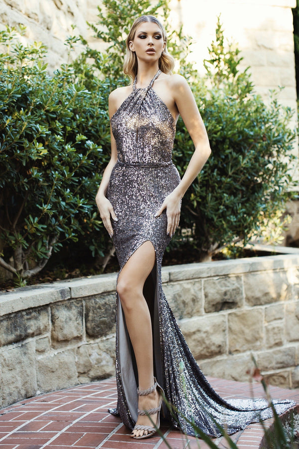Nicole Bakti High Neck Sequin Backless Gown