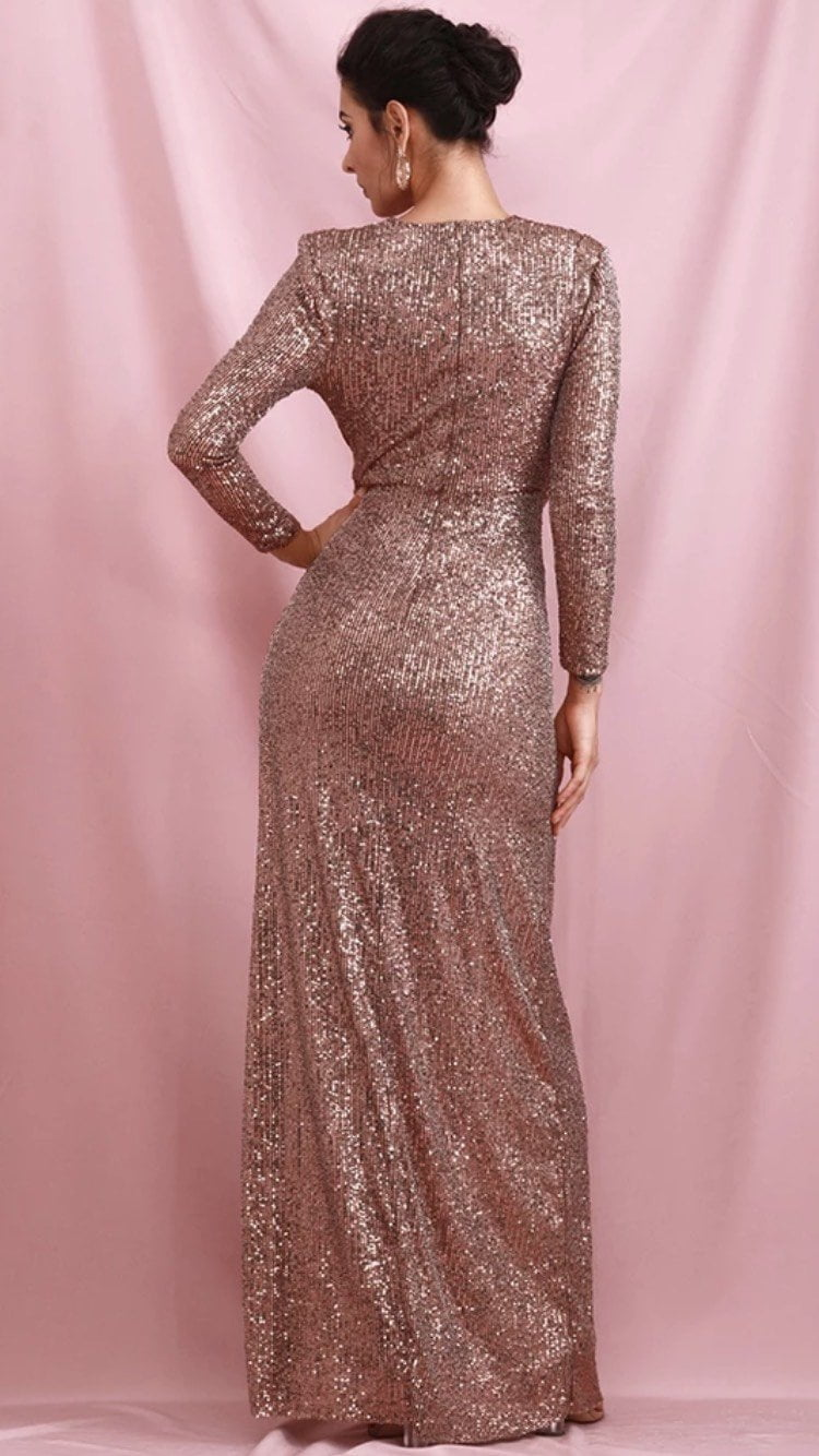 Jessica Bara Dulce Long Sleeve Draped Sequin Gown