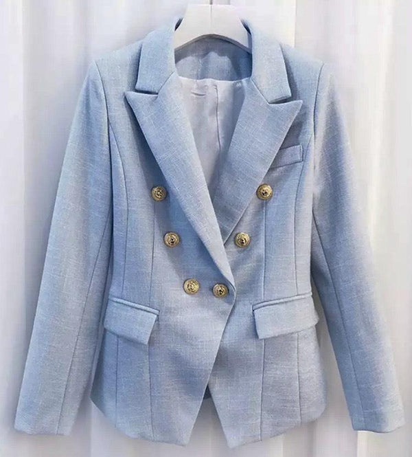 Jessica Bara Donatella Light Blue Gold Button Blazer