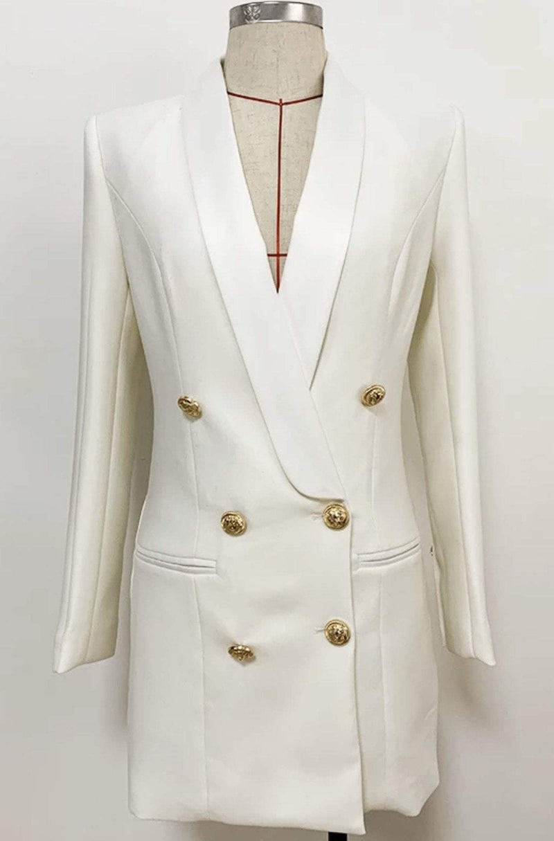 Jessica Bara Blakely Double Breasted Gold Button Blazer Dress