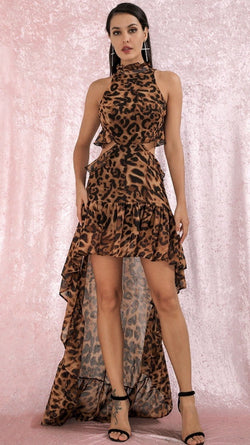 Jessica Bara Adalyn Sleeveless Leopard Hi-Low Dress