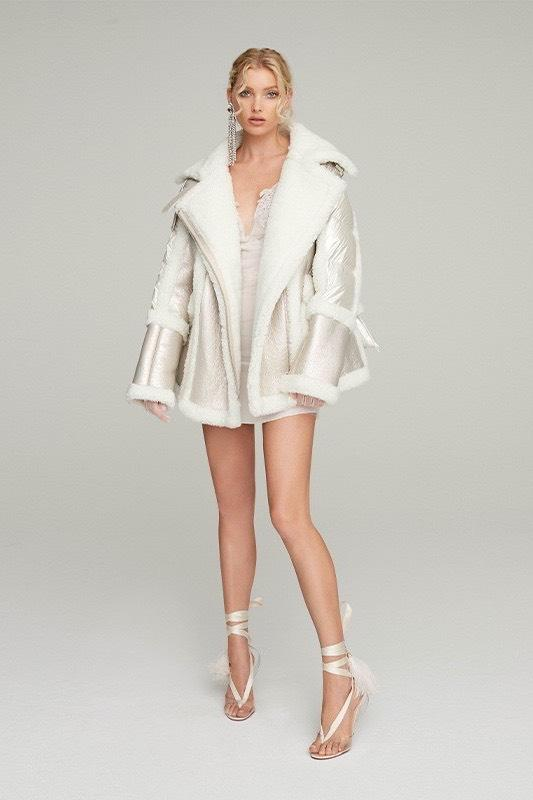 Nicole Benisti  Montaigne Pearl White Shearling Puffer Jacket