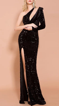 Jessica Bara Emmie One Shoulder Cut Out Sequin Gown