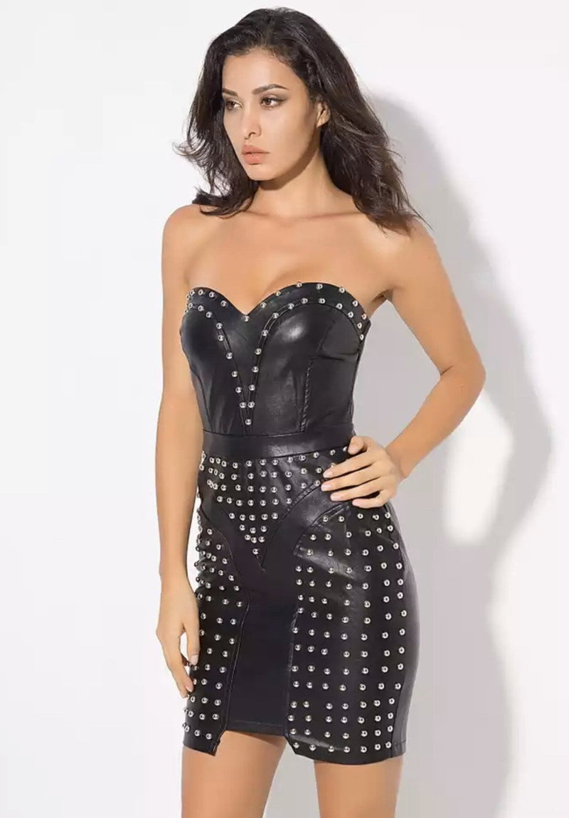Jessica Bara Maxima Strapless Studded Leather Mini Dress
