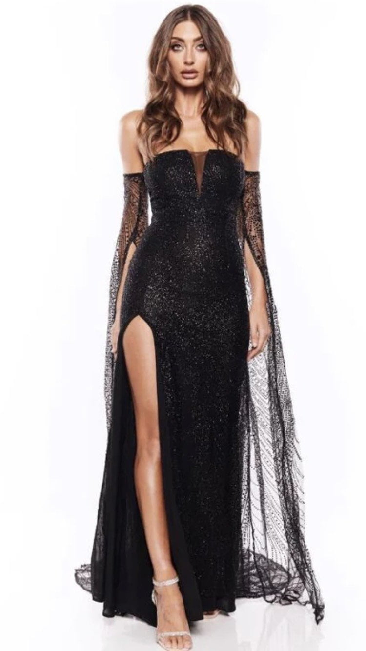Jessica Bara Noa Strapless Oversized Sleeve Glitter Gown
