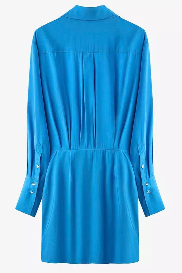 Jessica Bara Serenity Irregular V Neck Mini Dress