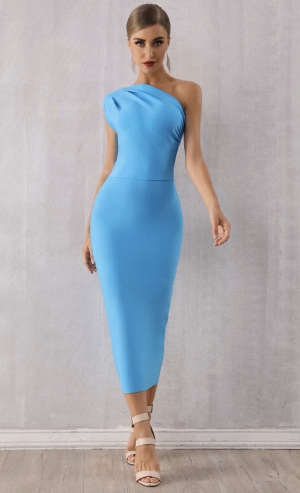 Jessica Bara Tracey One Shoulder Bandage Midi Dress