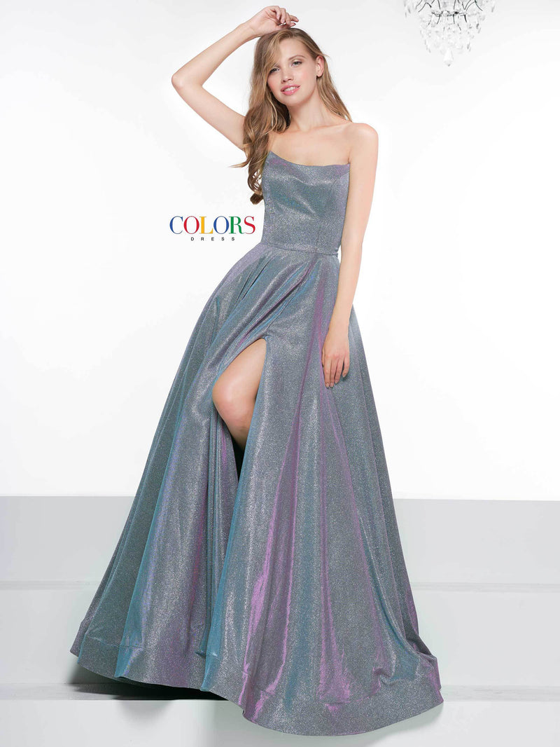 Colors Dress Strapless Glitter Ball Gown