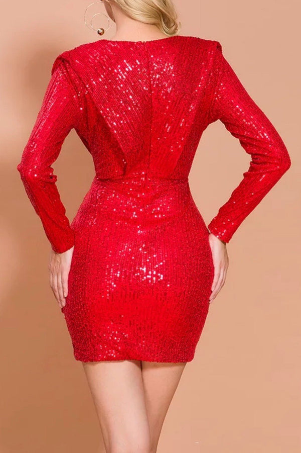 Jessica Bara Monica Long Sleeve Sequin Mini Dress