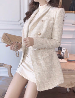 Jessica Bara Amara Tweed Double Breasted Gold Button Blazer Dress