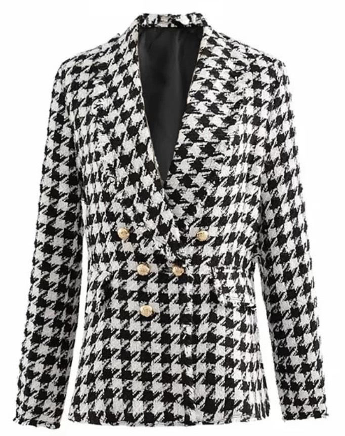 Jessica Bara Savannah Houndstooth Tweed Double Breasted Blazer