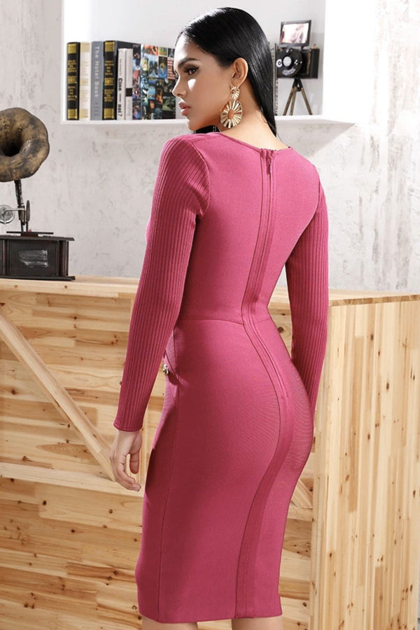 Jessica Bara Hartley Long Sleeve Bandage Midi Dress