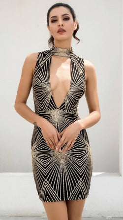 Jessica Bara Uly Geometric Peek-a-Boo Dress