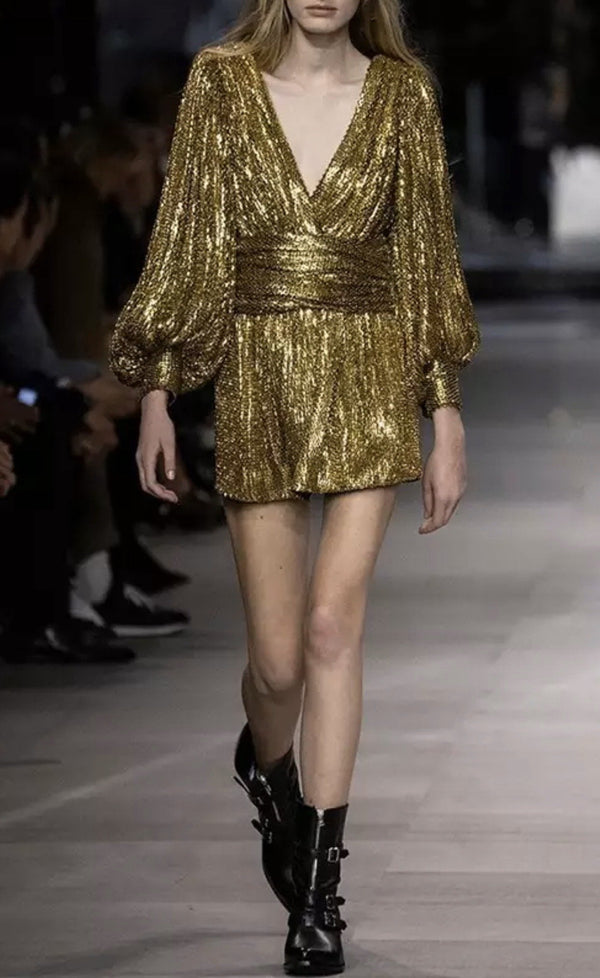 Jessica Bara Thorin Long Sleeve Sequin Mini Dress