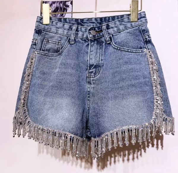 Jessica Bara Jorjina High Waisted Rhinestone Tassel Denim Shorts
