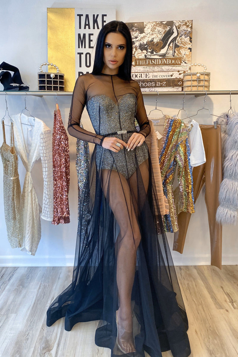Jovani Long Sleeve Sheer Rhinestone Bodysuit Gown