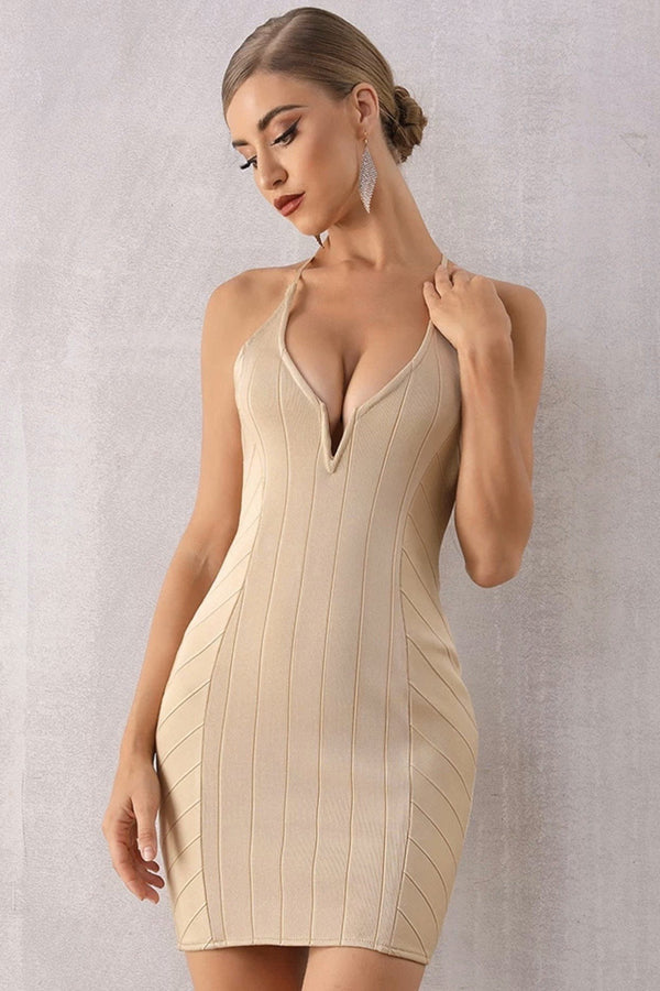 Jessica Bara Elizabeth V Neck Open Back Mini Dress