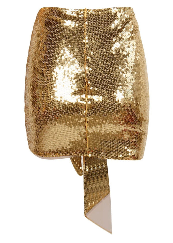 Jessica Bara Haisley Sequin Draped Mini Skirt