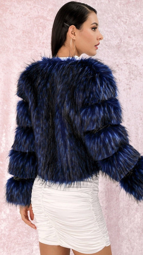Jessica Bara Melanie Navy Faux Fur Cropped Coat