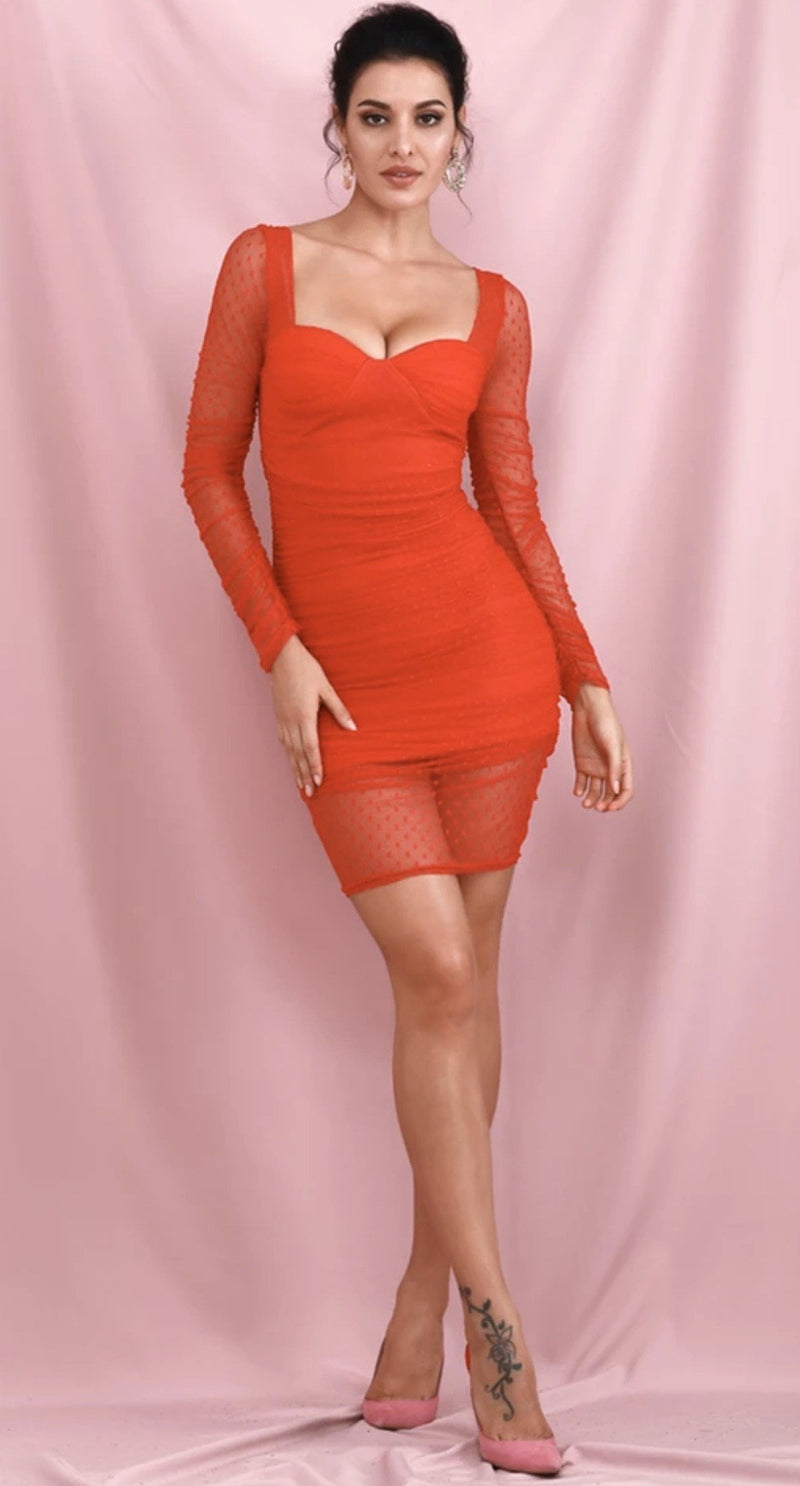 Jessica Bara Haven Long Sleeve Mesh Mini Dress