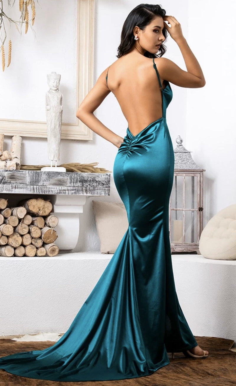 Jessica Bara Gemma Satin Open Back Gown